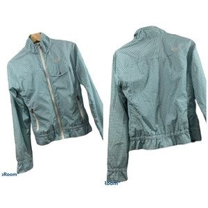 North Face Lightweight Fall Spring Jacket Coat Turquoise Check Medium